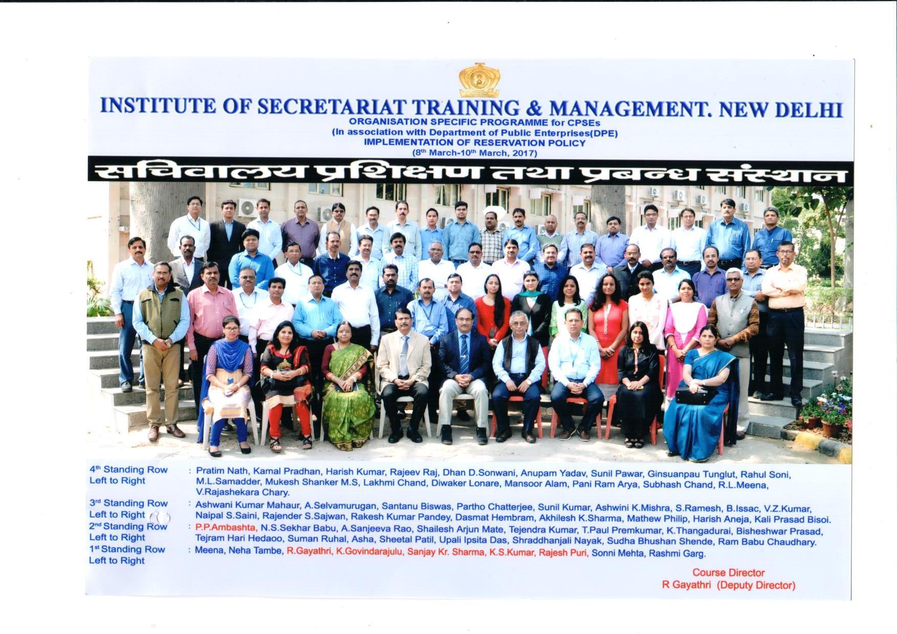 Institute of Secretariat Training & Management,New Delhi.